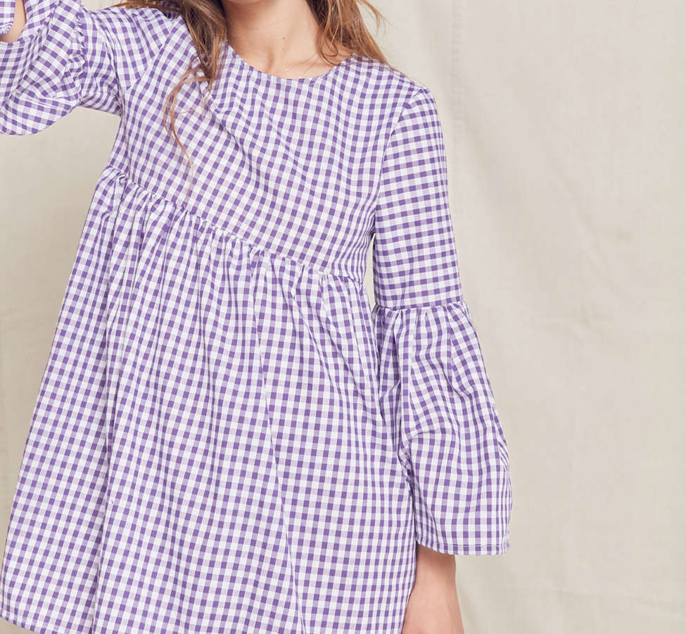 Slide View: 1: Urban Renewal Remade Bell-Sleeve Gingham Dress