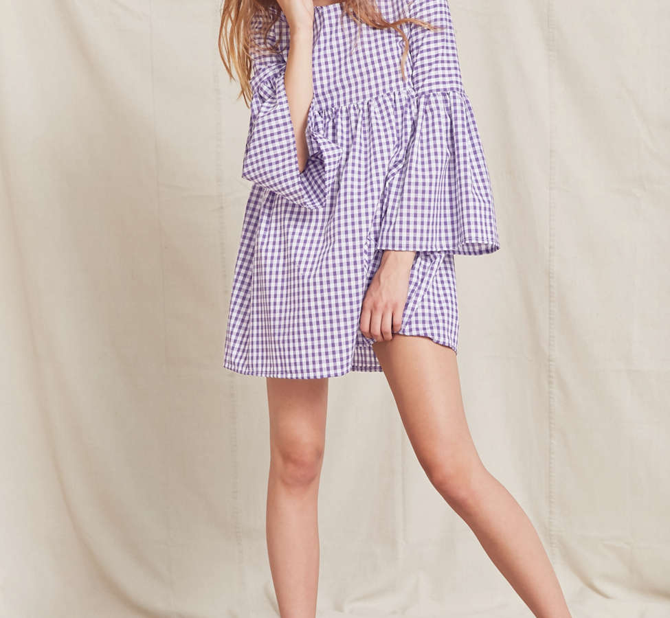 Slide View: 4: Urban Renewal Remade Bell-Sleeve Gingham Dress