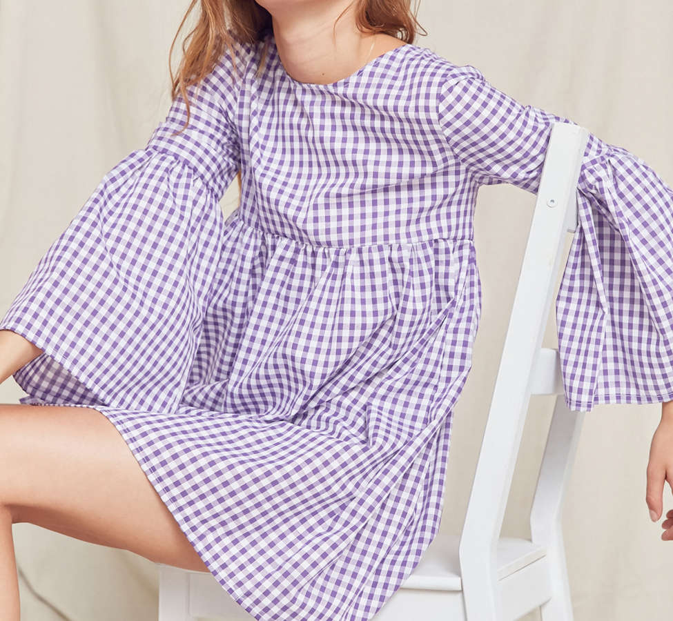 Slide View: 6: Urban Renewal Remade Bell-Sleeve Gingham Dress
