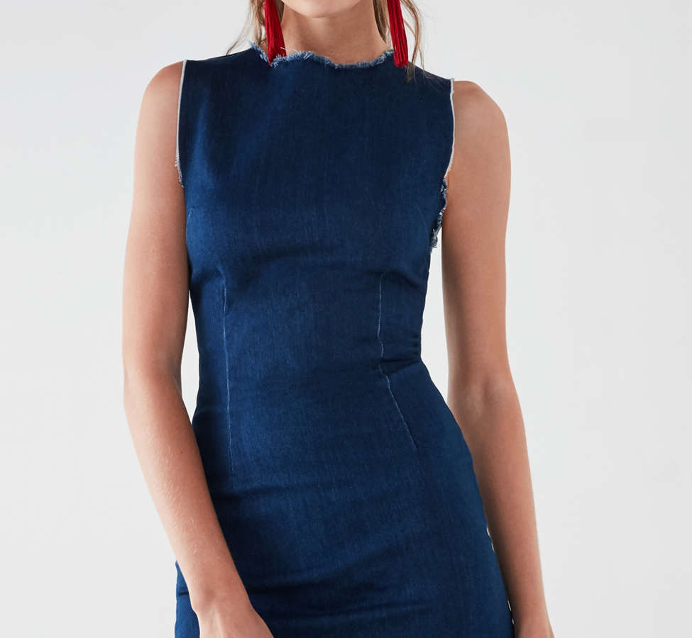 Slide View: 1: Six Crisp Days Vesta Frayed Denim Mini Dress