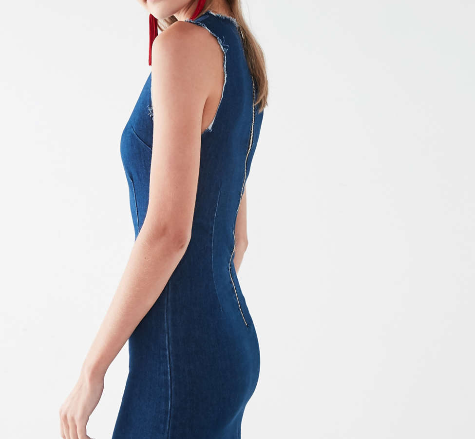 Slide View: 5: Six Crisp Days Vesta Frayed Denim Mini Dress