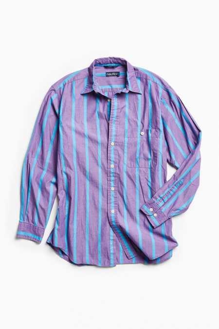 Vintage Nautica '90s Purple Stripe Button-Down Shirt