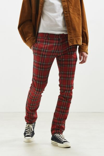 Tripp NYC Plaid Skinny Pant - Red Multi 30 W at Urban Outfitters