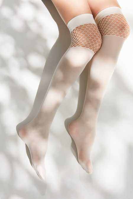 Pattern Block Fishnet Over-The-Knee Sock