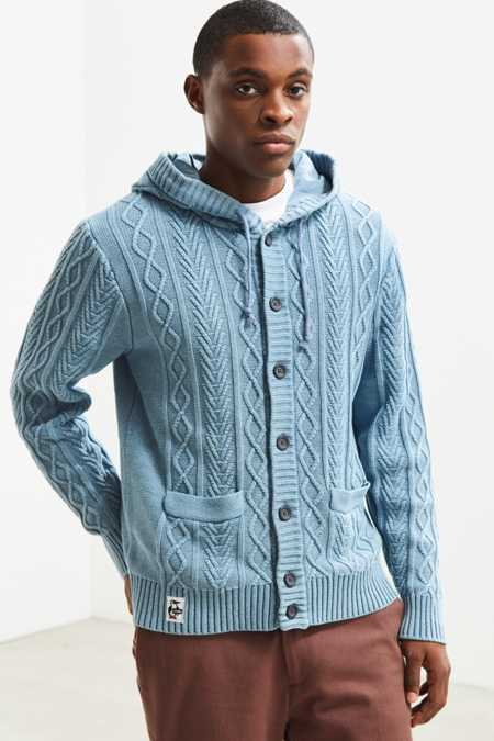 Chums Indigo Knit Hooded Cardigan Sweater
