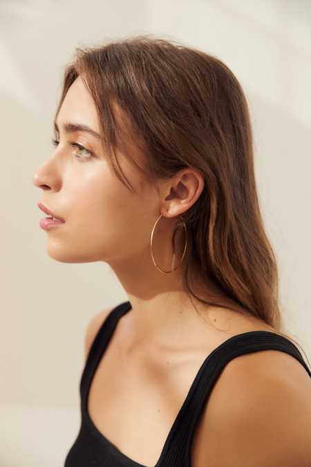 18k Gold + Sterling Silver Plated Basic Hoop Earring
