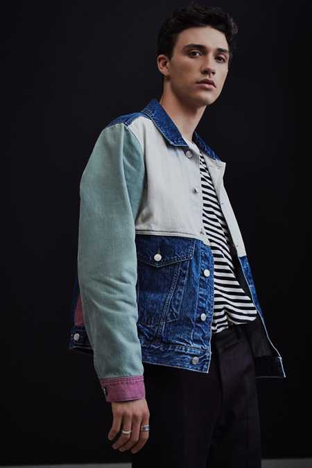 BDG Customized Colorblocked Denim Trucker Jacket
