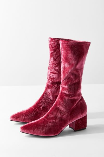 Vagabond Mya Crushed Velvet Mid-Calf Glove Boot - Pink 36 EURO at Urban Outfitters