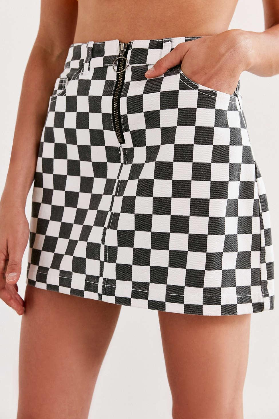 BDG Checkered Denim Zip Mini Skirt | Urban Outfitters