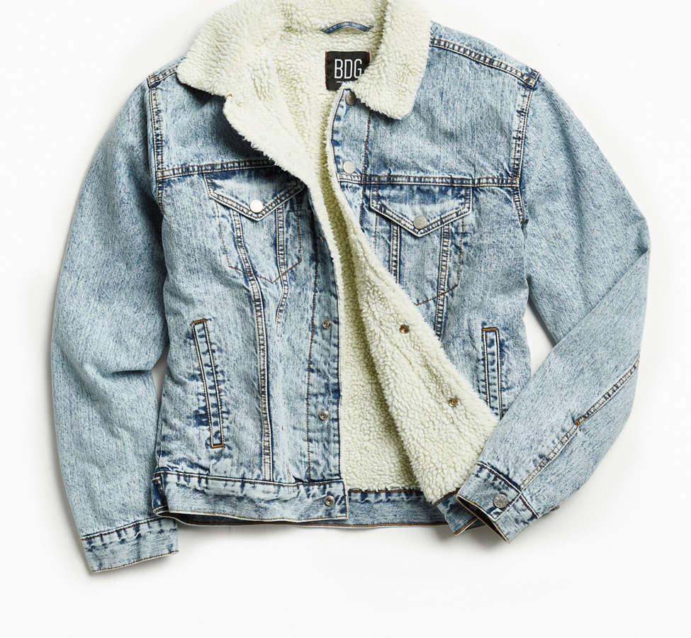 Slide View: 1: BDG Sherpa Denim Trucker Jacket