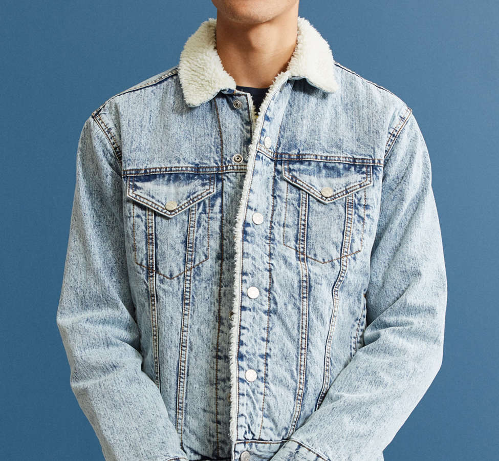 Slide View: 2: BDG Sherpa Denim Trucker Jacket