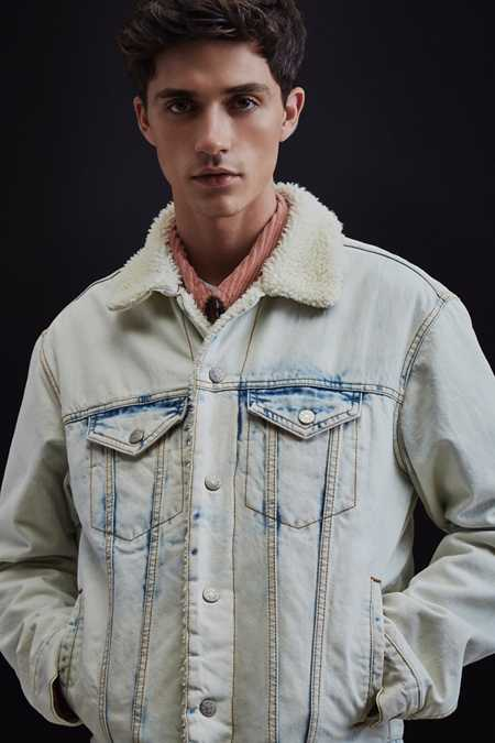 BDG Sherpa Light Blue Denim Trucker Jacket
