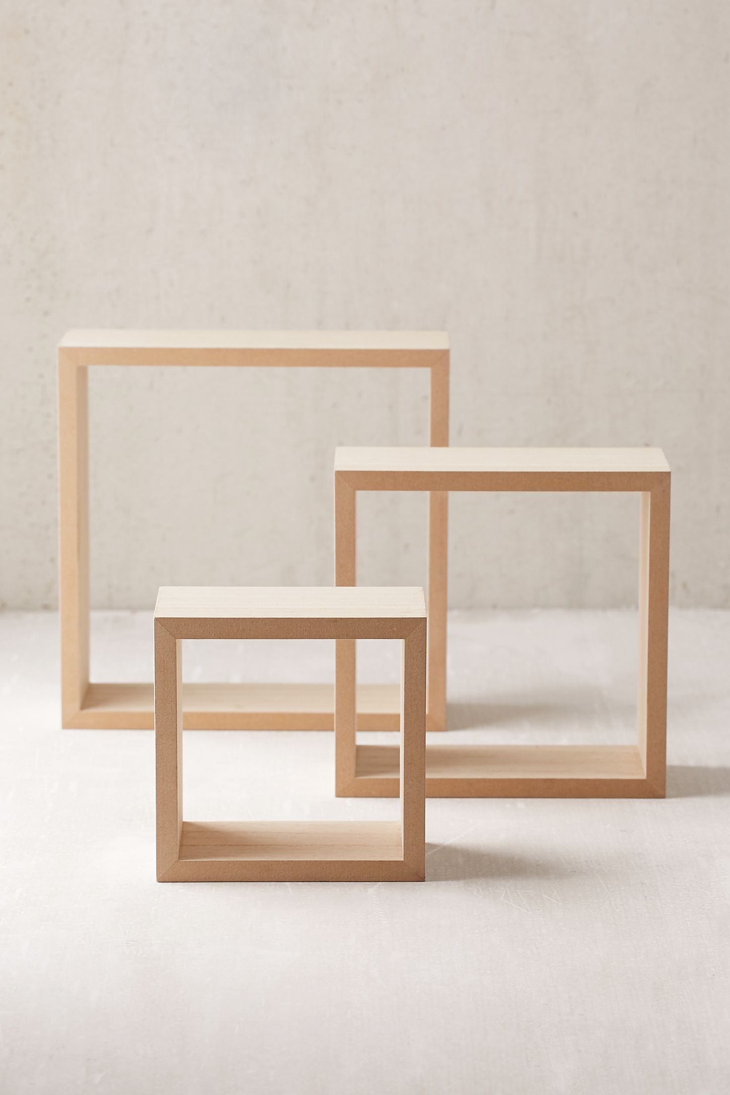 Slide View: 4: 3-Piece Square Stacking Shelf Set