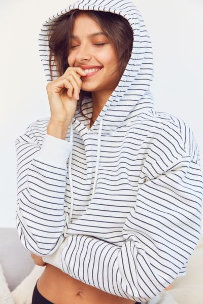 Out From Under Striped Cropped Hoodie Sweatshirt - Black/White S at Urban Outfitters