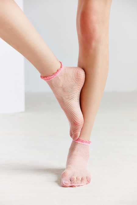 Out From Under Ruffle Trim Fishnet Ankle Sock