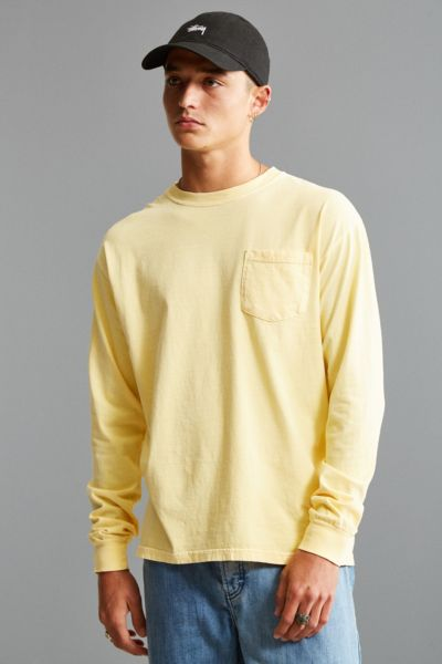 Comfort Colors Pocket Long Sleeve Tee - Bright Yellow S at Urban Outfitters