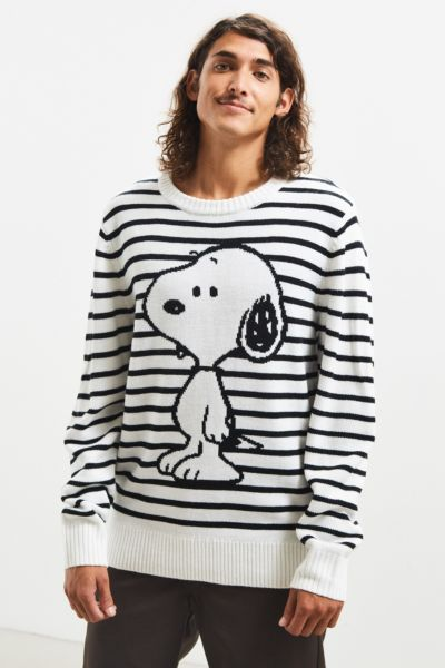 Snoopy Striped Sweater - White S at Urban Outfitters