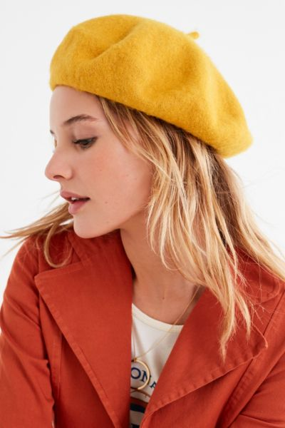 Felt Beret - Gold One Size at Urban Outfitters