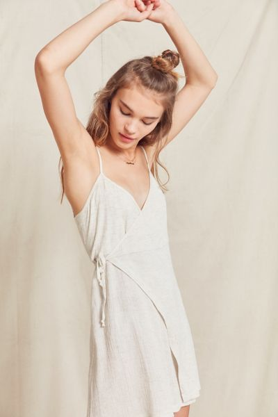 Urban Renewal Remade Gauzy Wrap Mini Dress - Cream XS at Urban Outfitters
