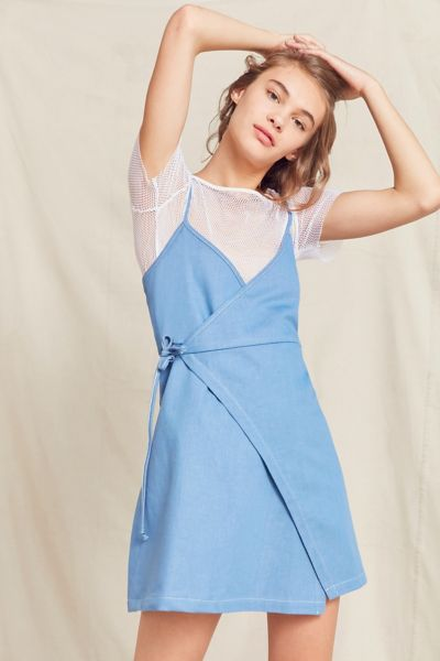 Urban Renewal Remade Denim Wrap Mini Dress - Blue XS at Urban Outfitters