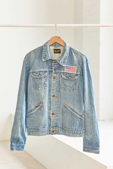 Vintage Wrangler American Flag Patch Denim Jacket