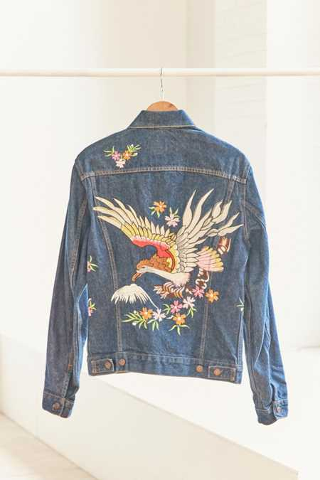 Vintage Levi's Embroidered Bird Denim Trucker Jacket