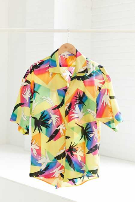 Vintage '80s Rainbow Pop Short Sleeve Button-Down Shirt