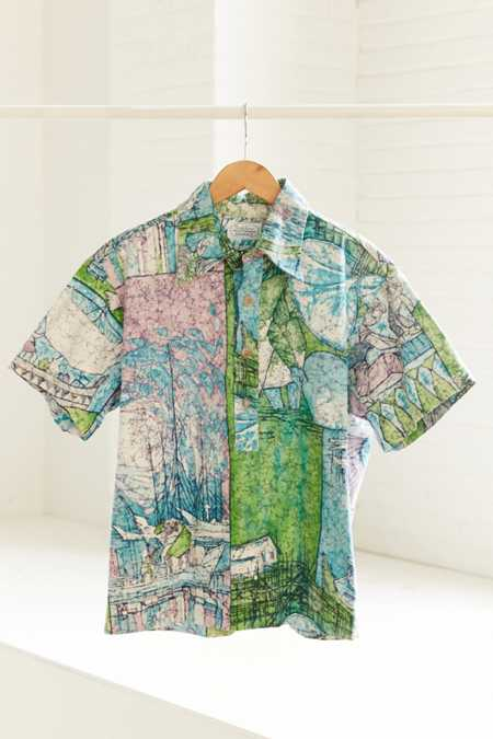 Vintage '90s Tropical Print Short Sleeve Popover Shirt