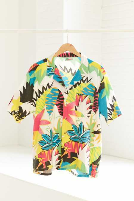 Vintage '90s Tropical Pop Button-Down Shirt