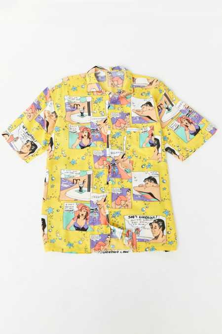 Vintage '90s Comic Strip Short Sleeve Button-Down Shirt