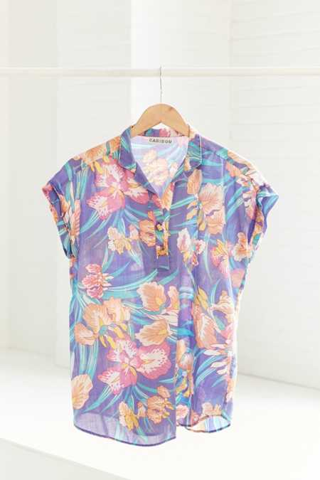 Vintage '90s Purple Tropical Short Sleeve Popover Shirt