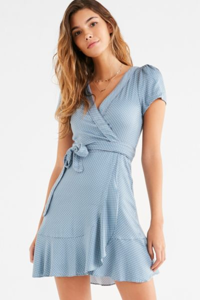 Kimchi Blue Rita Wrap Dress - Blue XS at Urban Outfitters