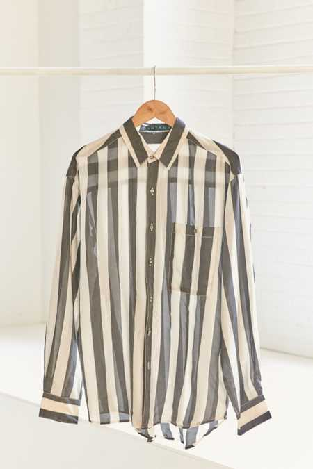 Vintage '90s Silk Stripe Button-Down Shirt