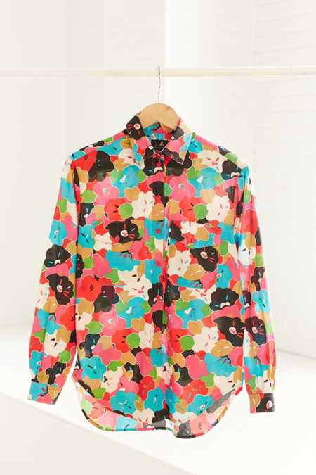 Vintage '90s Abstract Floral Button-Down Shirt