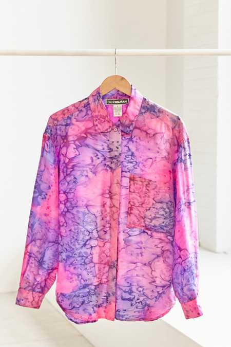 Vintage Tie-Dye Silk Button-Down Shirt