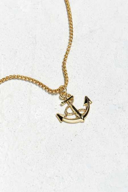Slide View: 1: UO Gold Anchor Pendant Necklace