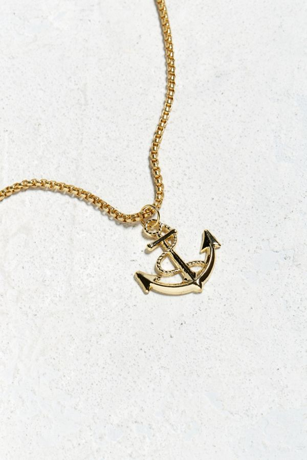 Uo gold anchor pendant necklace urban outfitters slide view 1 uo gold anchor pendant necklace aloadofball Choice Image