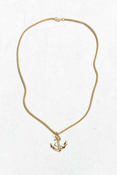 Slide View: 2: UO Gold Anchor Pendant Necklace