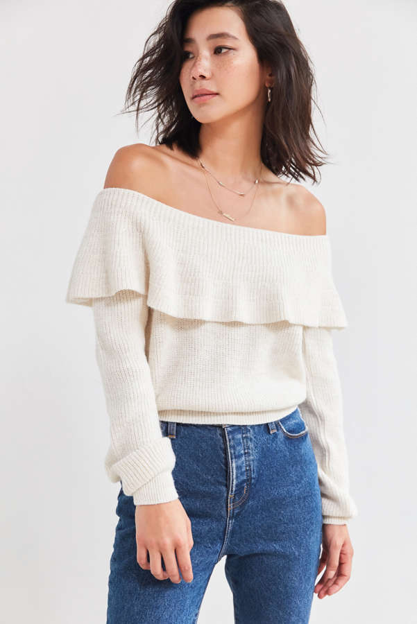 Kimchi Blue Chrissy Off-The-Shoulder Ruffle Sweater | Urban Outfitters