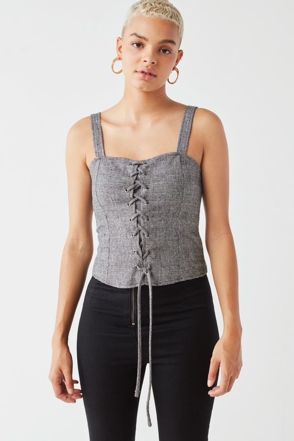 Silence Noise Lace Up Corset Top Urban Outfitters