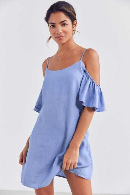 Kimchi Blue Chambray Cold-Shoulder Mini Dress