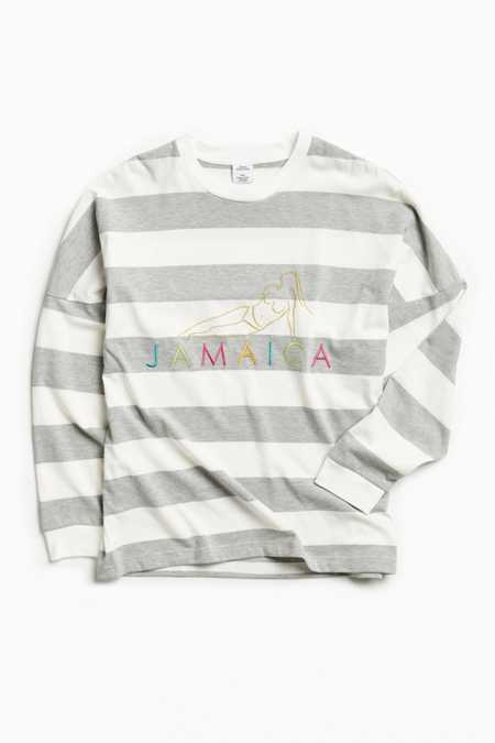 UO Embroidered Jamaica Stripe Long Sleeve Tee