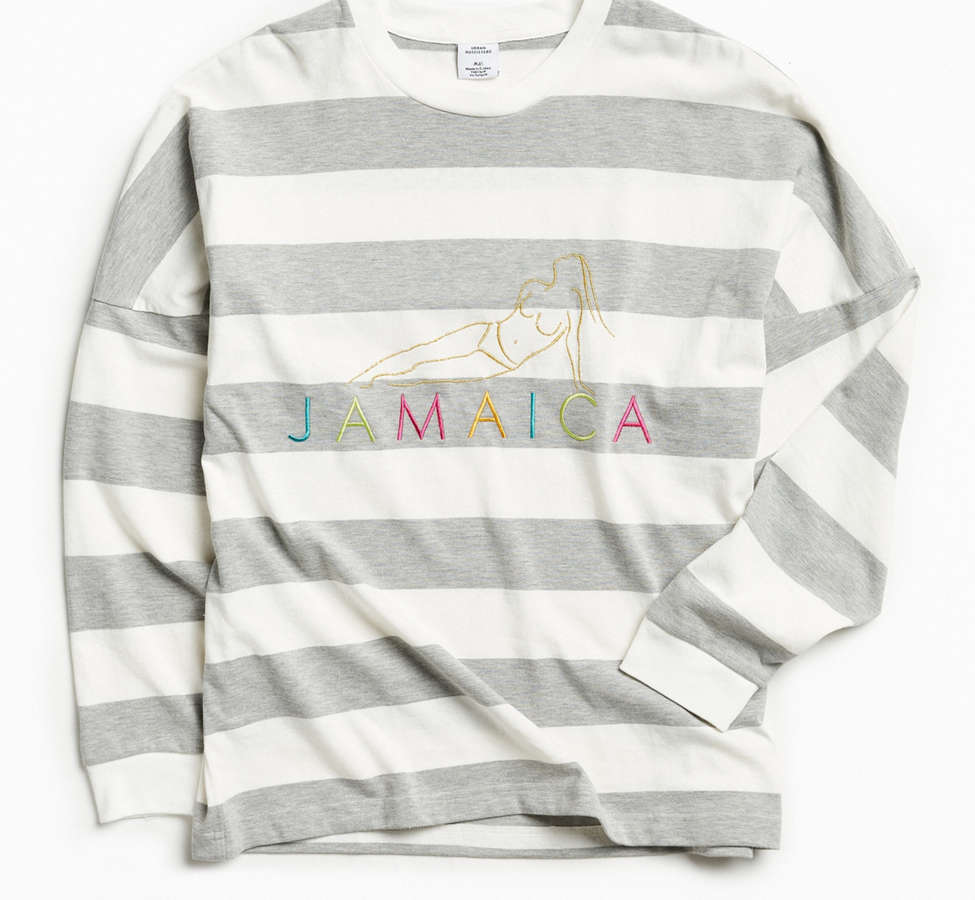 Slide View: 1: UO Embroidered Jamaica Stripe Long Sleeve Tee