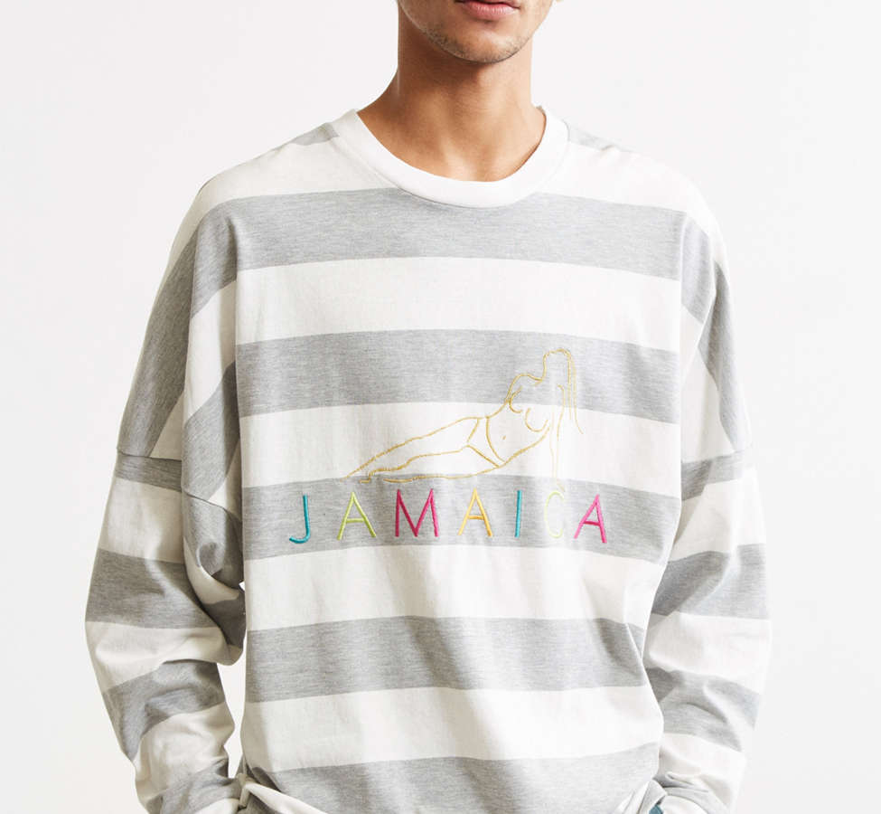 Slide View: 2: UO Embroidered Jamaica Stripe Long Sleeve Tee