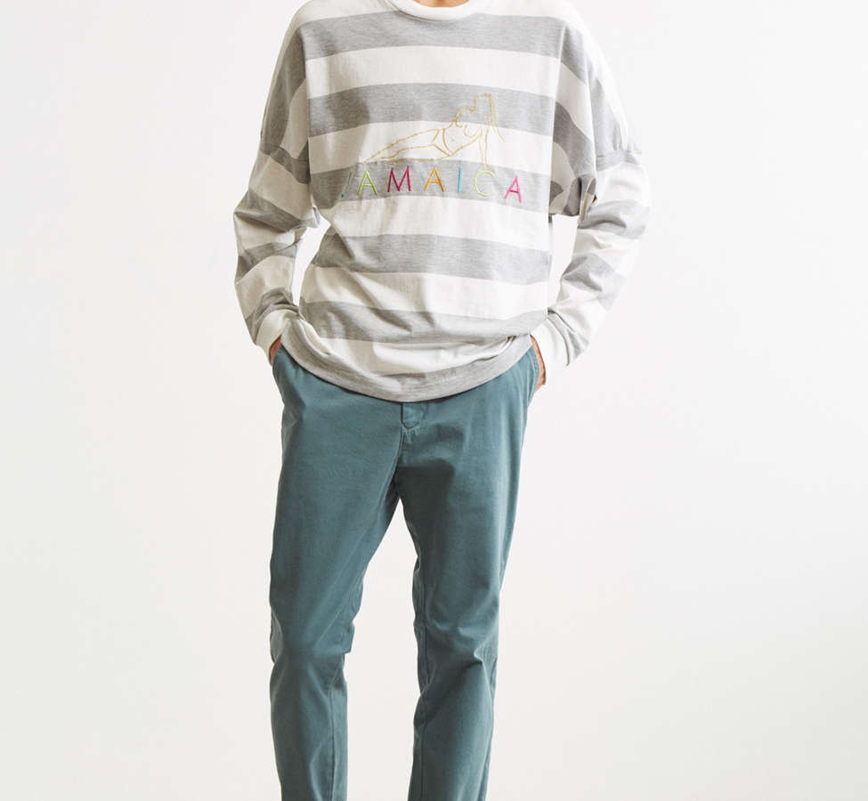 Slide View: 6: UO Embroidered Jamaica Stripe Long Sleeve Tee