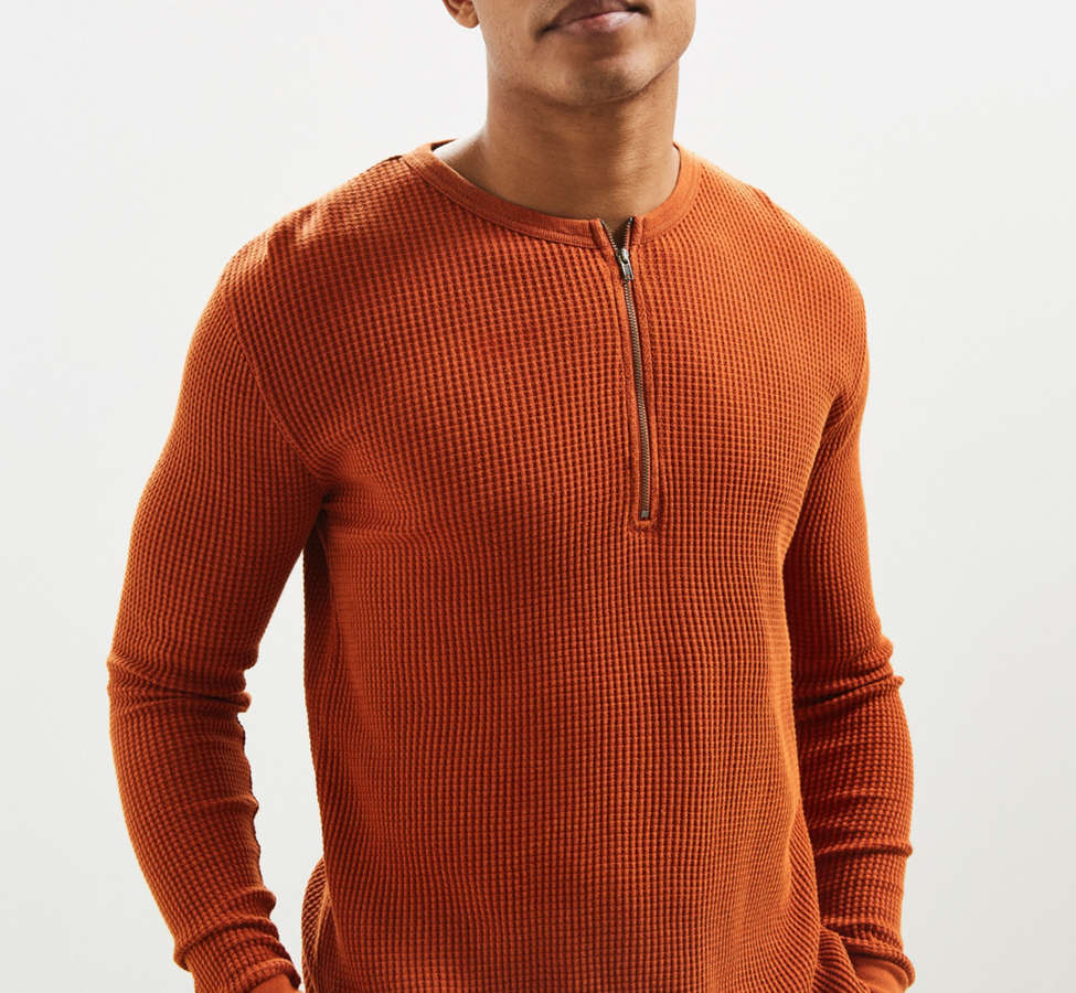Slide View: 1: UO Zip Neck Thermal Long Sleeve Tee