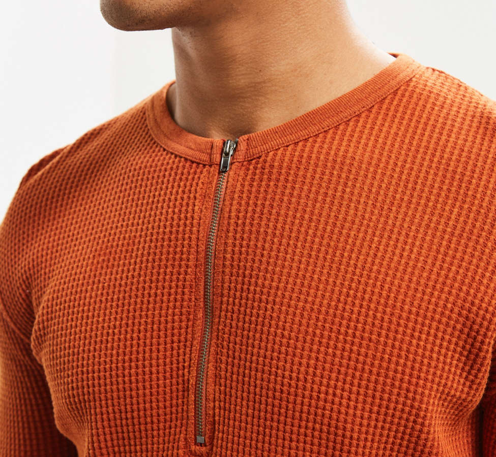 Slide View: 2: UO Zip Neck Thermal Long Sleeve Tee
