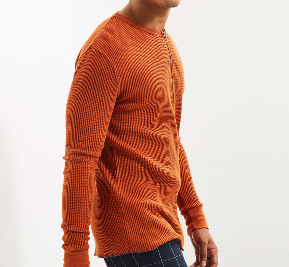 Slide View: 3: UO Zip Neck Thermal Long Sleeve Tee