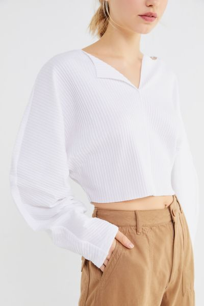 Kimchi Blue Riki Ribbed Cropped Top - White XS at Urban Outfitters