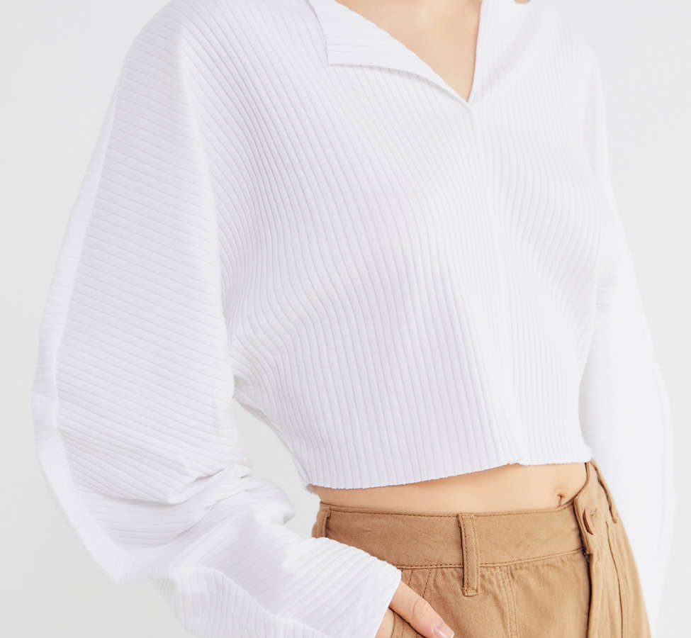 Slide View: 1: Kimchi Blue Riki Ribbed Cropped Top